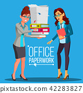 Business Woman Doing Paperwork Vector. Office Worker. Very Busy Day. To Excessive Work. Accounting 42283827