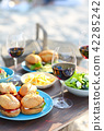 Picnic table with red wine glasses 42285242