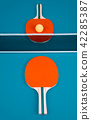Table tennis or ping pong rackets and ball. 42285387