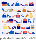 Set icons of fashion bags and shoes 42285829