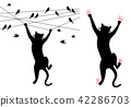 Cat climbing, birds on wire, vector 42286703