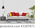 Interior living room  metal sheet wall. 3d render 42287871