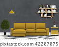 3D rendering of living room with concrete wall in  42287875