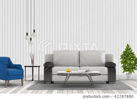Interior with armchair,plant,sofa. 3d render 42287880