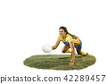 The young female rugby player isolated on white backround 42289457