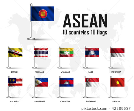 Flag of ASEAN and membership with flagpole 42289657