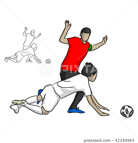 soccer player in red jersey shirt attacking  42289965