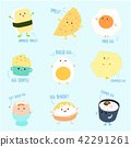 Cute variety food from egg cartoon vector set. 42291261