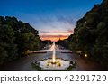 Fountain landmark at sunset, Munich, Germany 42291729