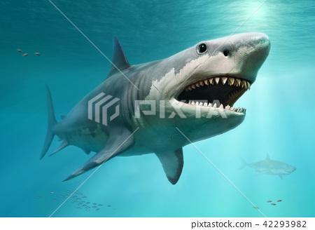 Megalodon scene 3D illustration 42293982
