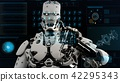 Robot android presses the keys on sci-fi screen. Realistic motion background. 3D Rendering. 42295343