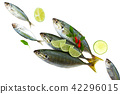 Fresh fish with lemon and leaf  42296015