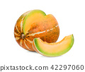 ripe whole and slice musk melon isolated on white  42297060
