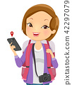 Girl Tourist Phone Illustration 42297079