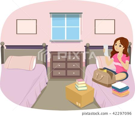 Teen Girl Dorm Room Freshman Illustration 42297096