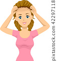 Teen Girl Wear Wig Illustration 42297118