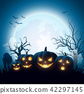 Cartoon Halloween pumpkins with white ghost 42297145