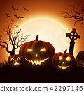 Halloween background with pumpkins 42297146