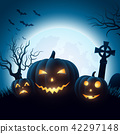 Halloween background with pumpkins 42297148