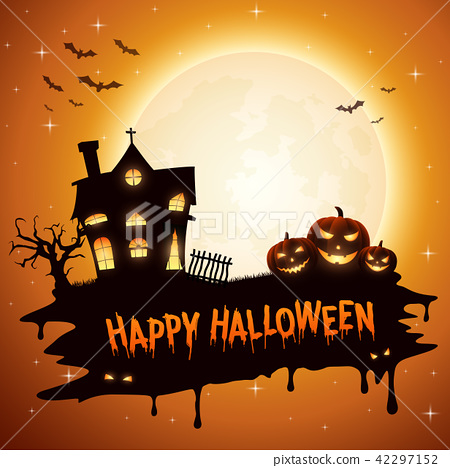 Halloween background with pumpkins and church 42297152