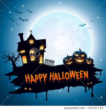 Halloween background with pumpkins and church 42297154