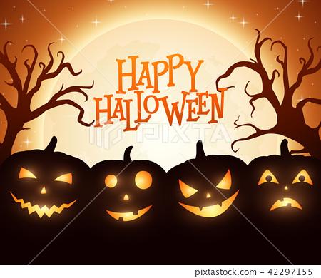 Banner Cartoon Halloween pumpkins on orange backgr 42297155