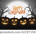 pumpkin silhouette greeting 42297156