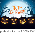 Banner Cartoon Halloween pumpkins on blue backgrou 42297157