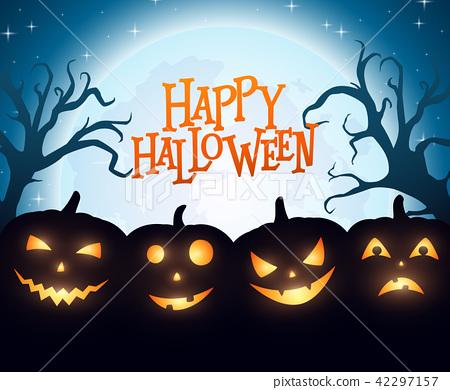 Banner Cartoon Halloween pumpkins on blue backgrou 42297157