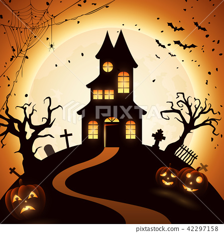 Halloween night background with castle and pumpkin 42297158