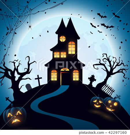 Halloween night background with castle and pumpkin 42297160
