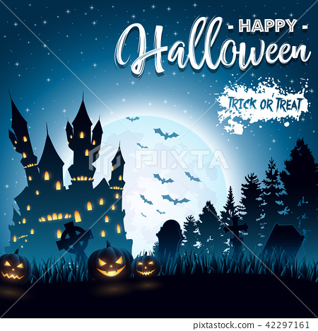 Halloween background with haunted church 42297161