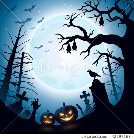 Halloween background with pumpkins and bats hangin 42297168