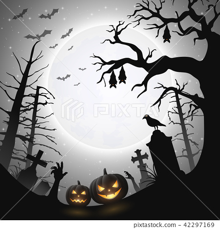 Halloween background with pumpkins and bats hangin 42297169