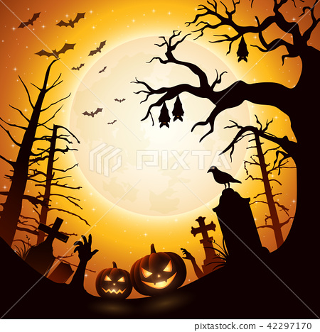 Halloween background with pumpkins and bats hangin 42297170