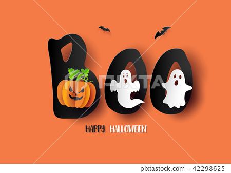 Paper art of Happy Halloween 42298625