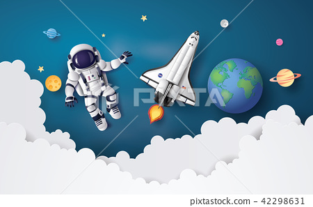 Astronaut Astronaut floating in the stratosphere . 42298631