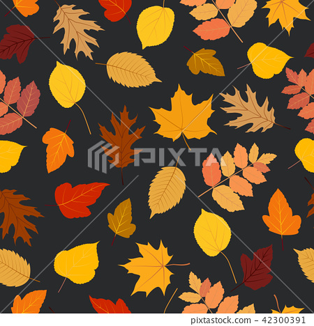 Seamless pattern autumn colorful leaves background 42300391