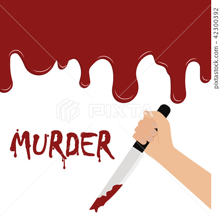 Vector of hand holding a bloody knife  42300392