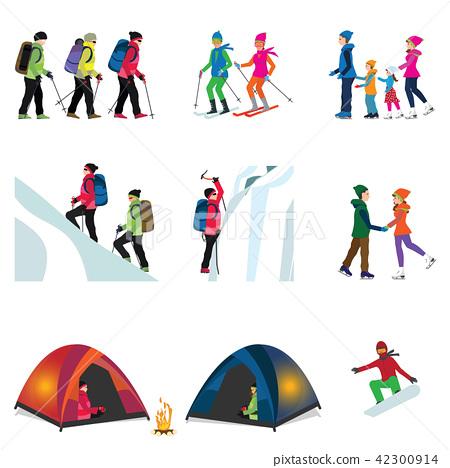 Cartoon character set of Ice climber. 42300914