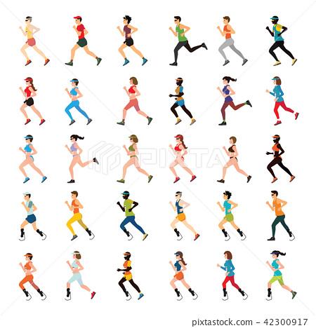 Marathon Runners and handicap sprinter 42300917