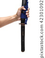sword - knife on hand holding upside down isolated 42301092