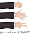 hand with rock rock scissors paper signal 42301857