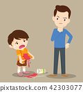 boy stained at the shirt with dad scold 42303077