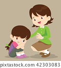 teacher comforting sad girl 42303083