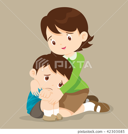 Teacher hugs comfort sad boy grievingl 42303085
