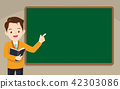 Teacher standing in front of chalkboard 42303086