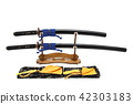 Japanese sword on wooden stand and silk bag  42303183