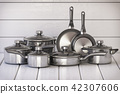 Set of stainless pots and pan with glass lids 42307606
