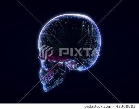 Abstract Skull,skull on ,futuristic style.3d  42308983